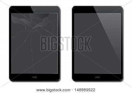 Vector realistic broken and new tablets on white background.