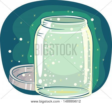 Animal Illustration Featuring an Open Glass Jar Filled with Tiny Fireflies