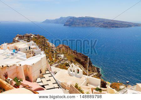 lanscape of Oia with volcano caldera and Aegan sea, beautiful details of Santorini island, Greece