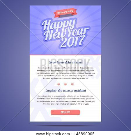 Happy New Year 2017 email template with sign up button.