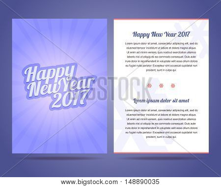 Happy New Year 2017 flyer vector template. Calligraphic font with rays.