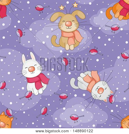 Christmas seamless pattern with the image of funny pets and snowflakes in cartoon style