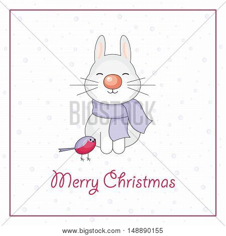 Merry Christmas greeting card with the image of funny rabbit and snowflakes in cartoon style