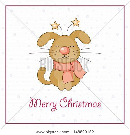 Merry Christmas greeting card with the image of funny dog and snowflakes in cartoon style