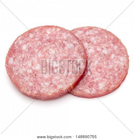 Salami smoked sausage two slices isolated on white background cutout