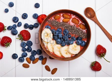Smoothie Bowl With Berries And Chia Seeds