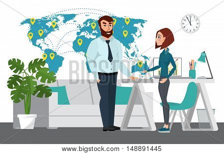 Business Professional Work Team. Map Of World Business. Businessman And Businesswoman Are Talking. V