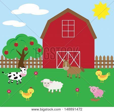 Farm Yard Barnyard with Animals and Apple Tree