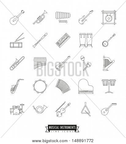 Collection Of 25 Musical Instruments Thin Line Icons