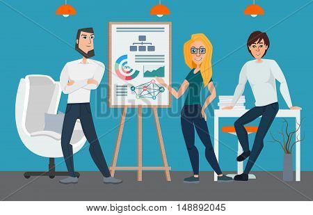 Business Professional Work Team. Businesspeople Show Finance Graph, Business Conference Meeting Peop