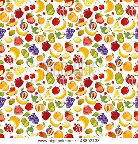 Miscellaneous vector fruits seamless pattern. Banana kiwi and orange illustration