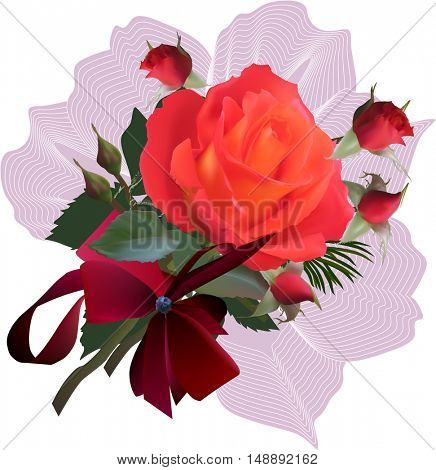 illustration with red rose flowers isolated on white background