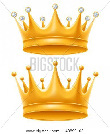 Crown set. Golden royal crowns with diamond and without, isolated on white background. Crown - symbol of power and authority. Realistic vector illustration.