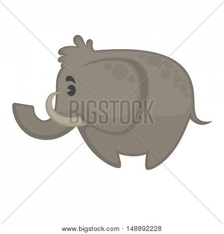 Cute cartoon elephant. Vector illustration. Isolated on white.