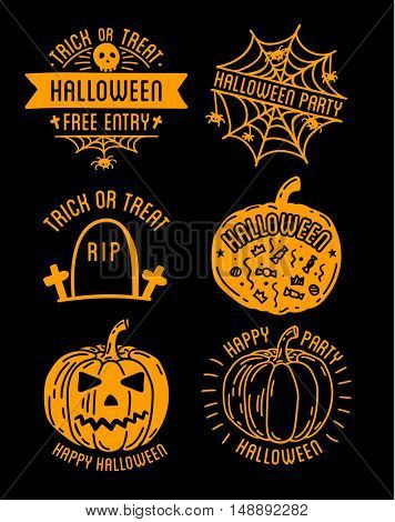 Happy Halloween design collection. Black badges and labels set with text inside. Holiday decoration emblem and stickers. Zombie party. Vector illustration isolated on white background.