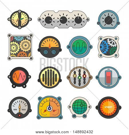 Colorful meter icons set. Power panel, interface barometer gauge control. Flat style. Vector illustration isolated on white background.