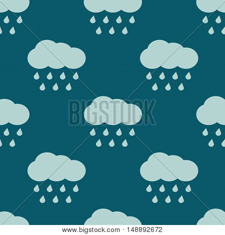 Vector clouds and rain weather seamless pattern. Background with raindrops illustration