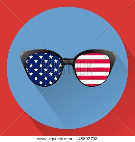 Patriotic glasses with stars and strips. Independence day USA. The Fourth of July. Vector illustration. Flat