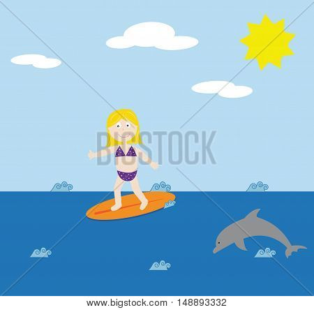 Surfing Girl Wearing Bikini Swimsuit and Dolphin