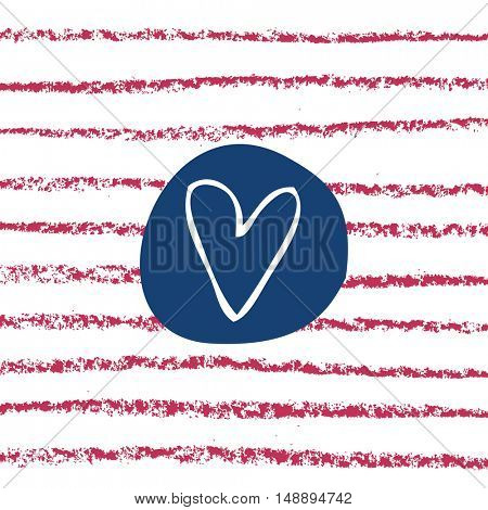 Heart background vector. Hand drawn hearts and lines. Marine style.