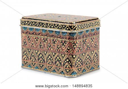 Vintage painted box on a white background
