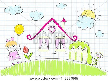 Happy little girl with balloon of yellow color walks near the house. Vector sketch on notebook page