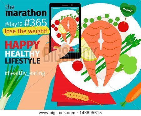 Diet and weight loss marathon. Mobile food photo with calories plan vector illustration
