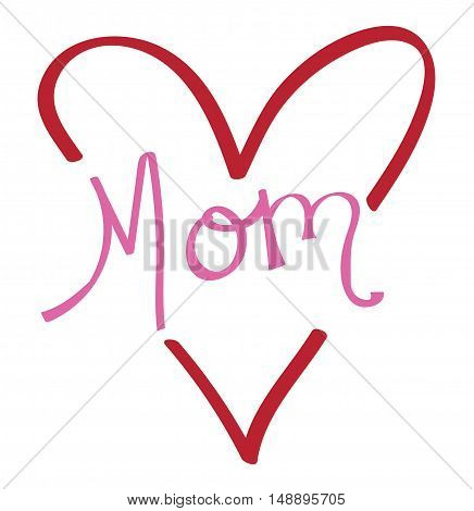 Red Love Heart Mom Happy Mothers Day