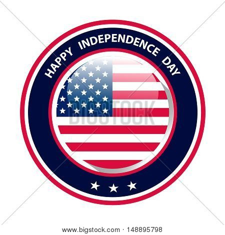 Happy Independence Day of United States of America. Round vector image with US flag in the middle. The 4th of July greeting postcar