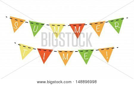 Summer Season Time Colorful Banner Bunting Flags