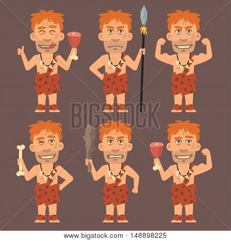 Vector Illustration, Neanderthal Holds Weapons Bone and Meat, Format EPS 8