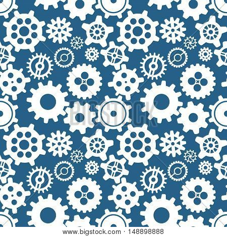 White different silhouettes of cogwheels on blue seamless pattern