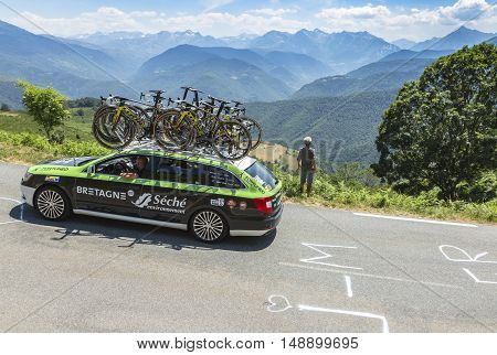 Col D'AspinFrance- July 152015: Technical car of Bretagne-Seche Environnement Team driving on the road to Col D'Aspin in Pyrenees Mountains during the stage 11 of Le Tour de France 2015.