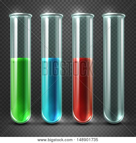 Vector test tubes filled with liquids of different colors and blood. Glass containers for research illustration