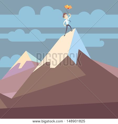 Businessman holding flag on mountain peak success business concept flat vector illustration. Business victory and triumph