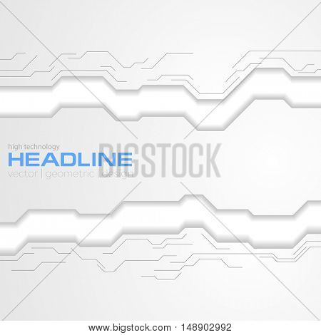 Grey technology corporate corporate background with circuit board. Vector design