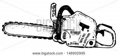 Chainsaw. Isolated on white background. Doodle style