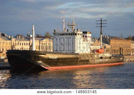 Saint-Petersburg Russia - May 2 2016: Small ice breaker ship Mudyug near the city embankment