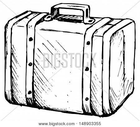 Suitcase travel. Isolated on white background. Doodle style