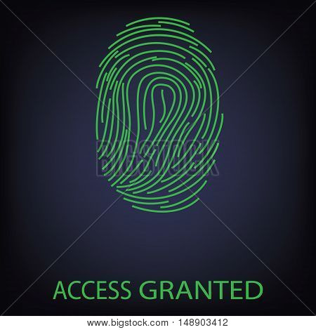 Vector illustration green fingerprint scanning. Access Granted. Finger print