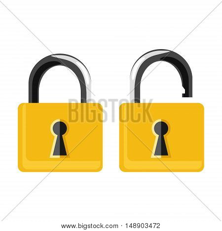 Vector illustration opened and closed golden locks on white background. Lock icon set collection. Padlock