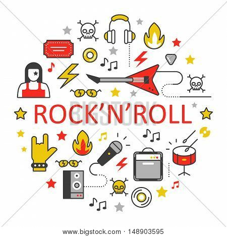Rocknroll Line Art Thin Vector Icons Set with Musical Instruments