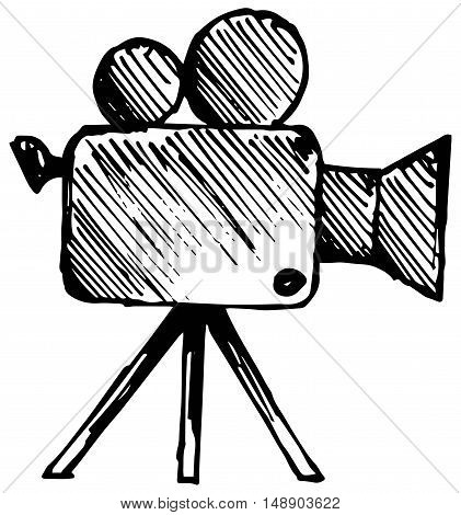 Camcorder, Film industry. Vector illustration, doodle style