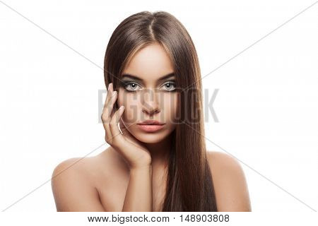 Beauty Woman With Healthy Brown Hair. Long Shiny Straight Hair. Hairstyle.