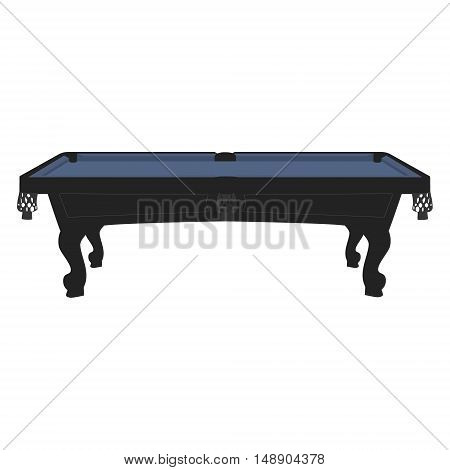 Vector illustration retro vintage pool table with blue cloth. Empty billiard table