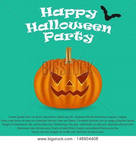 Wicked pumpkin for Halloween, vector illustration. Jack Lantern for Halloween party