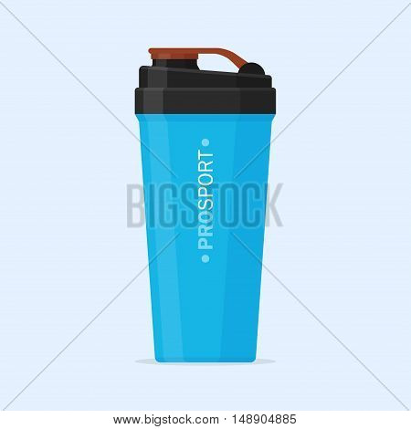 Sports shaker vector icon isolated from the background. Sport opaque shaker for water and protein cocktails in flat style. Sports and fitness equipment.