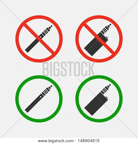 Yes and no signs vaping vector set isolated from the background. Symbols ban and permit smoking e-cigarettes. Characters smoking area.