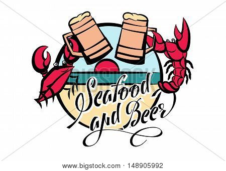 Logo seafood and beer lettering. Crayfish and crab red with glasses of beer on the beach. Vector illustration.