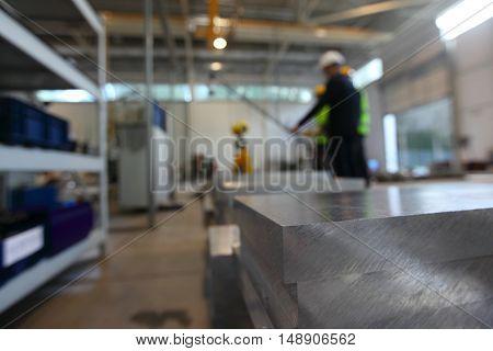 Stack of aluminium billets at CNC machine shop